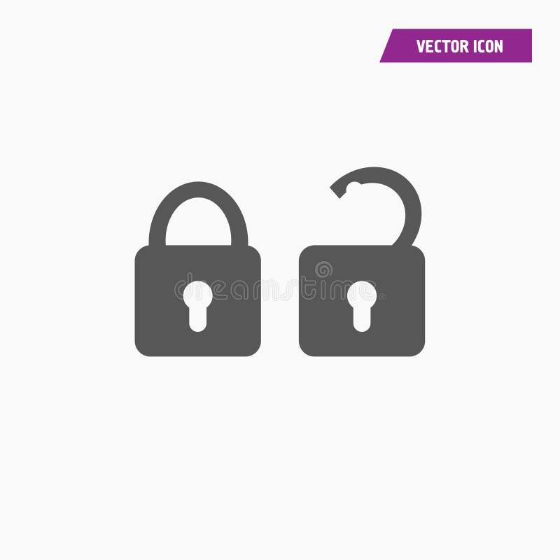 Cadeado aberto, fechado, ícone do fechamento ilustração royalty free
