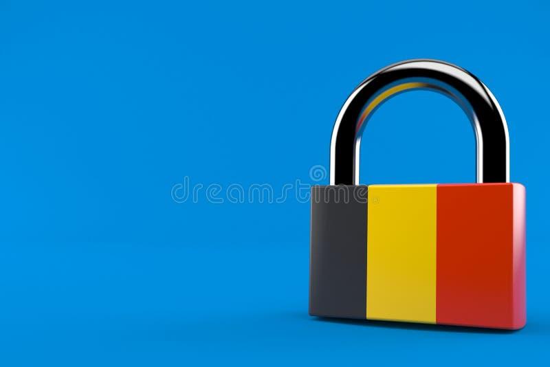 Cadeado com bandeira belga ilustração stock