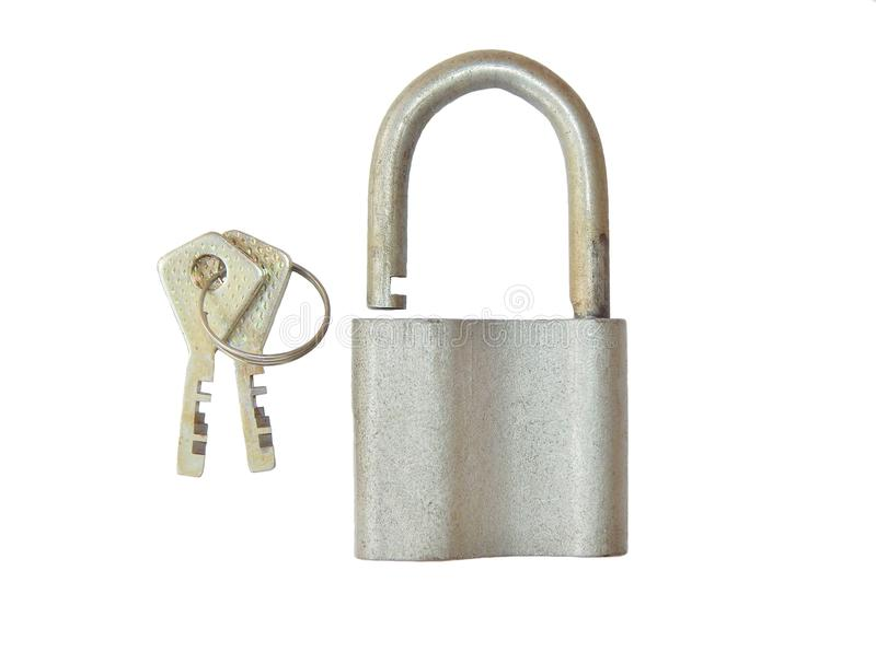 Cadeado com chaves em um fundo branco foto de stock