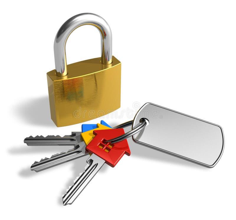 Cadeado com grupo de chaves ilustração stock