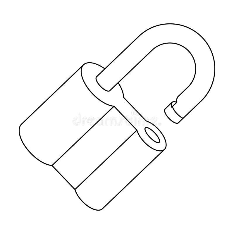 Cadeado cortado O desafio para que o descobridor resolva o crime Único ícone do detetive no símbolo do vetor do estilo do esboço ilustração stock