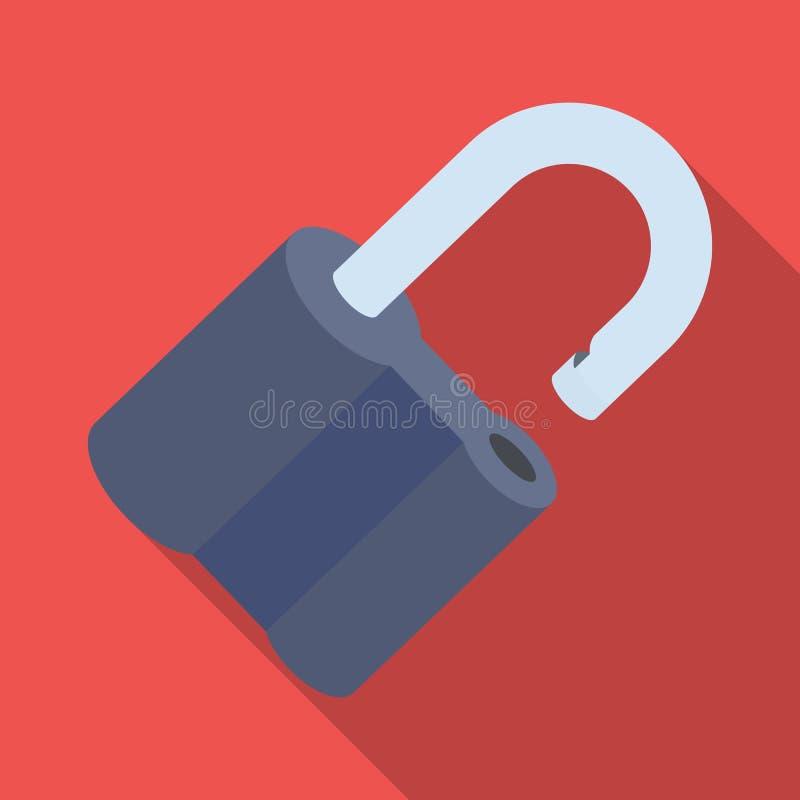 Cadeado cortado O desafio para que o descobridor resolva o crime Único ícone do detetive no símbolo liso do vetor do estilo ilustração do vetor