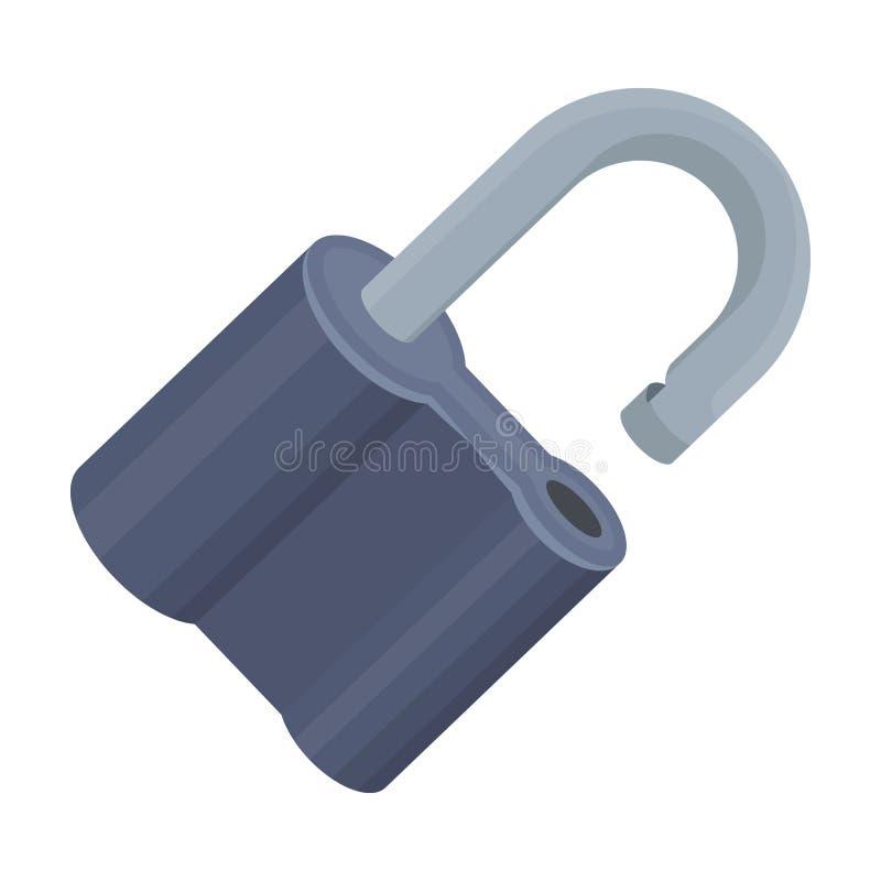 Cadeado cortado O desafio para que o descobridor resolva o crime Único ícone no avaliador do estilo dos desenhos animados, bitmap ilustração stock