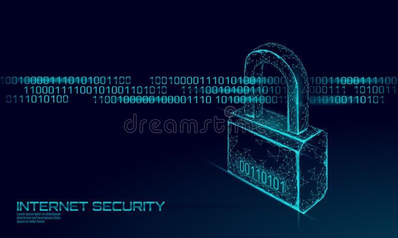 Cadeado da segurança do Cyber na massa dos dados Rede da tecnologia da inovação do futuro da privacidade da informação do fechame ilustração royalty free