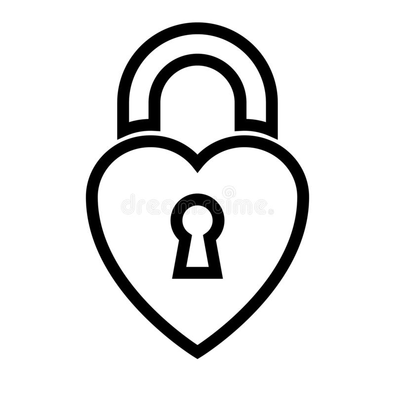 Cadeado dado forma coração ilustração do vetor