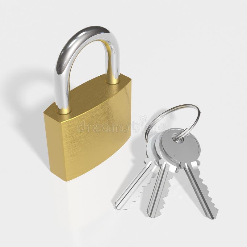 Cadeado com chaves ilustração stock