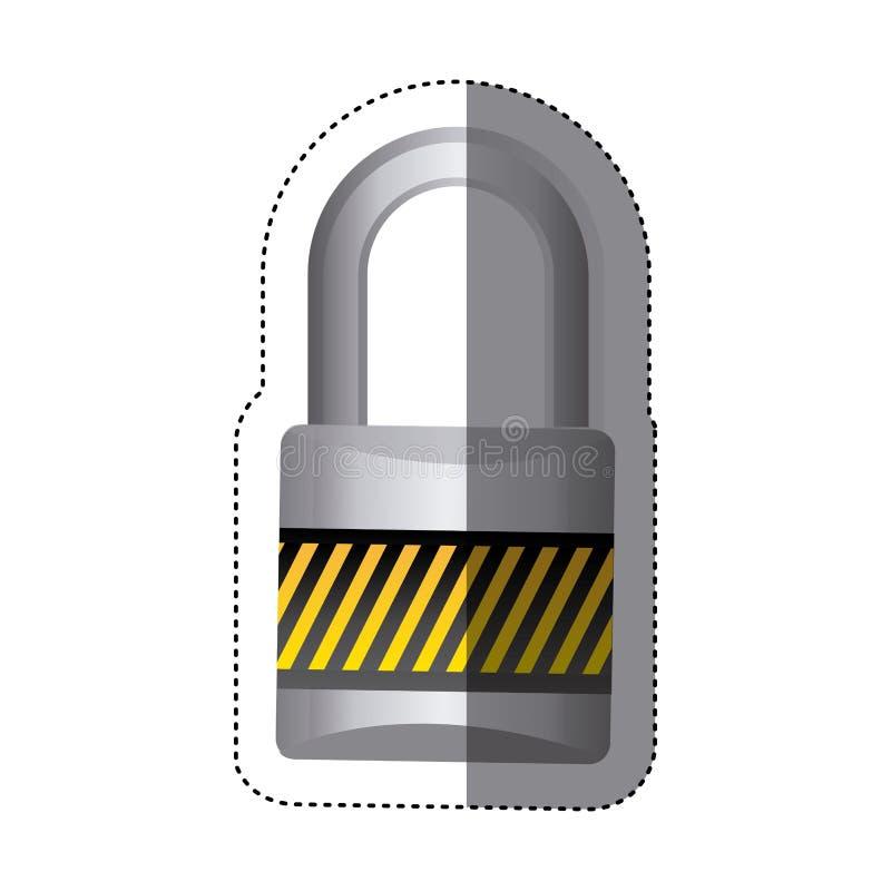 cadeado do metal da etiqueta com corpo e o grilhão coloridos listrados ilustração do vetor