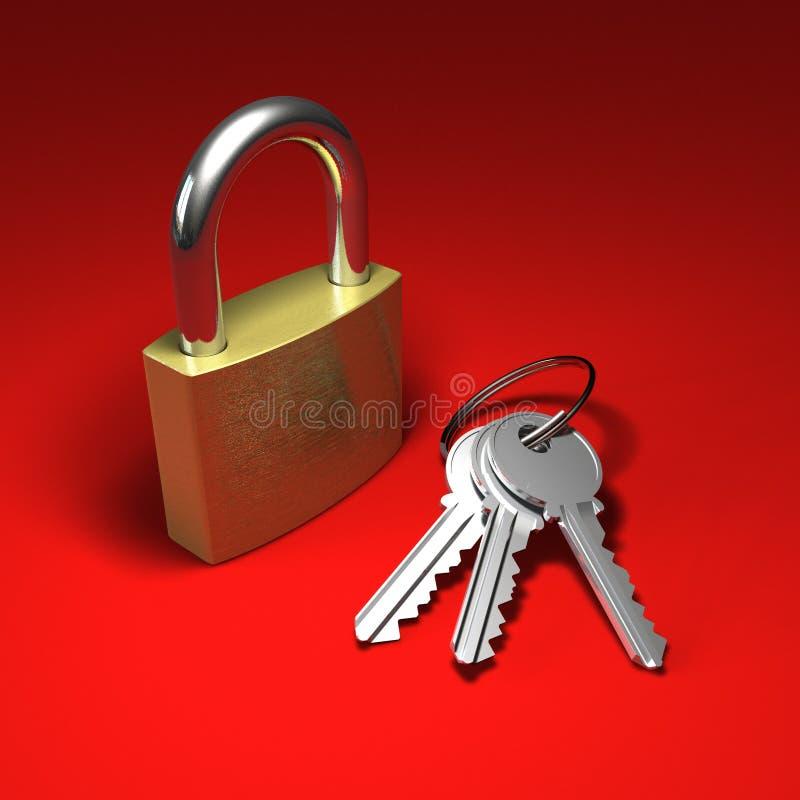 Cadeado e grupo de chaves no vermelho ilustração do vetor