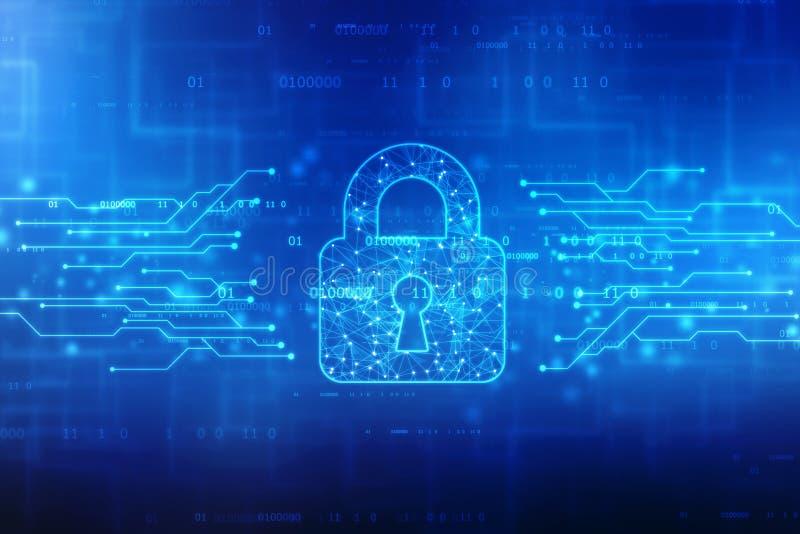 Cadeado fechado no fundo digital do fundo, da seguran?a do Cyber e da seguran?a do Internet ilustração do vetor