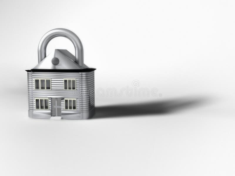 Cadeado na forma de uma casa ilustração stock