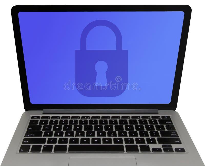 Cadeado na tela do portátil - conceito da proteção de dados foto de stock royalty free