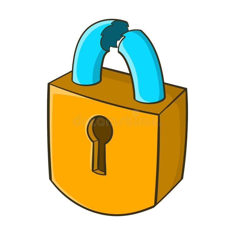 Cadeado que é ícone quebrado, estilo dos desenhos animados ilustração royalty free