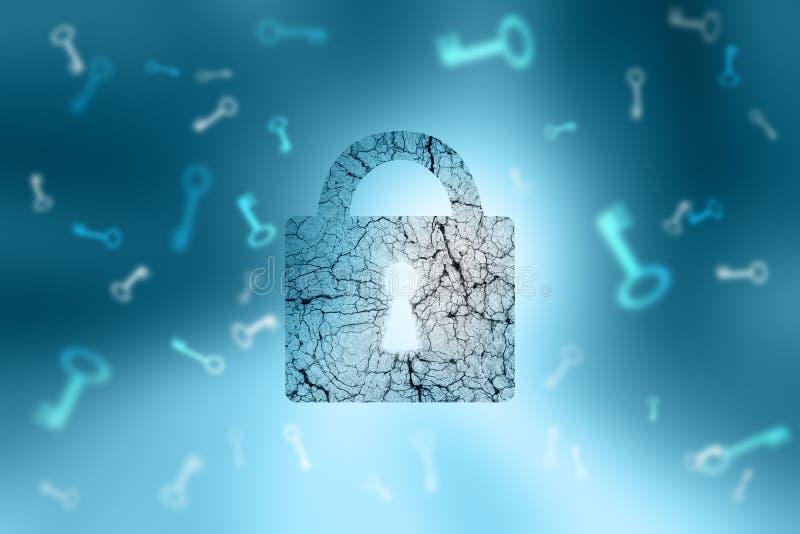 Cadeado textured envelhecido fechado e chaves no backgroun azul abstrato ilustração stock