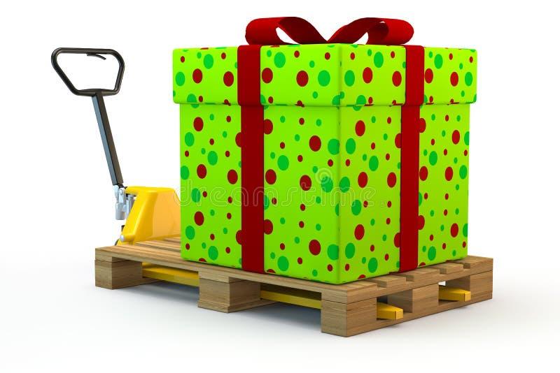 Cadeau énorme sur le chariot gerbeur illustration de vecteur