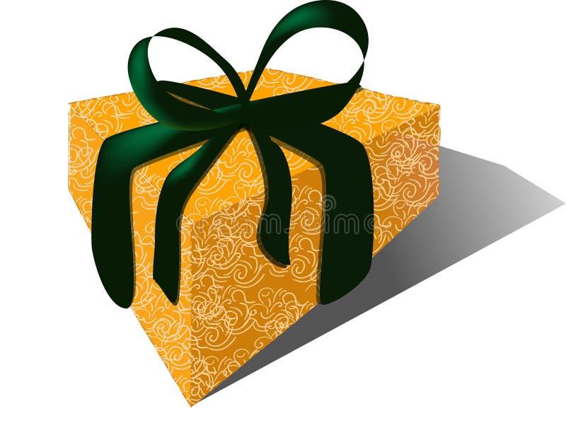Cadeau avec la bande de velours et l'enveloppe de brocard illustration libre de droits