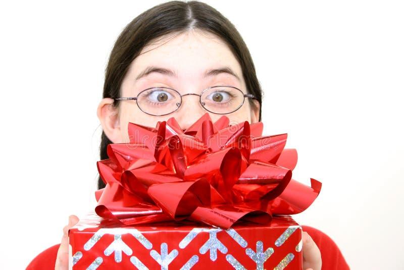 Cadeau avec la grande proue rouge image stock