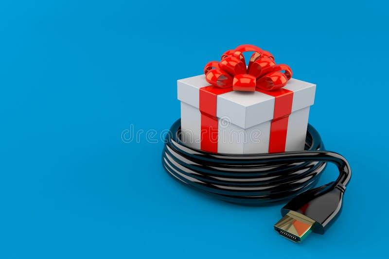 Cadeau avec le câble de HDMI illustration stock