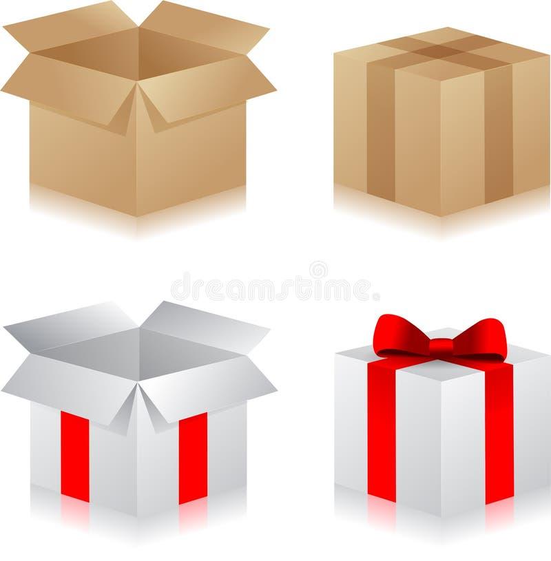 Cadeau Boxes Placez des différentes boîtes actuelles Surprise dans la bo?te illustration libre de droits