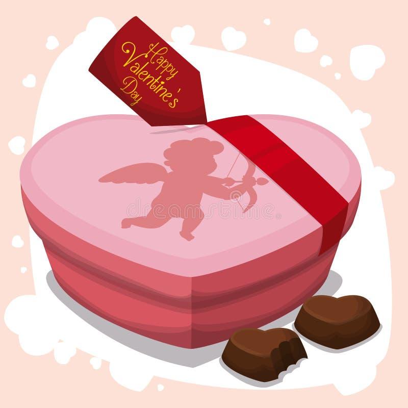 Cadeau délicieux de chocolats dans la boîte de coeur pour la Saint-Valentin, illustration de vecteur illustration stock