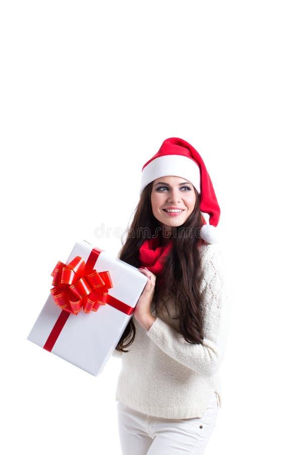 Cadeau de fixation de femme de Santa de Noël photographie stock libre de droits