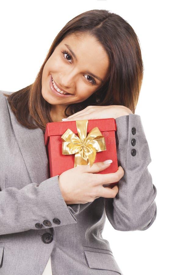 Cadeau de jeune femme photographie stock libre de droits