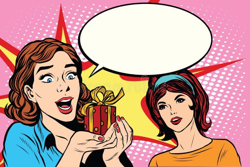 Cadeau de joie de deux filles d'amis illustration de vecteur