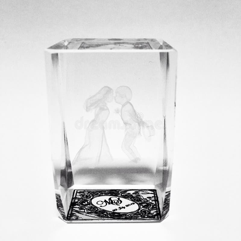 Cadeau de mariage vitreux photo stock