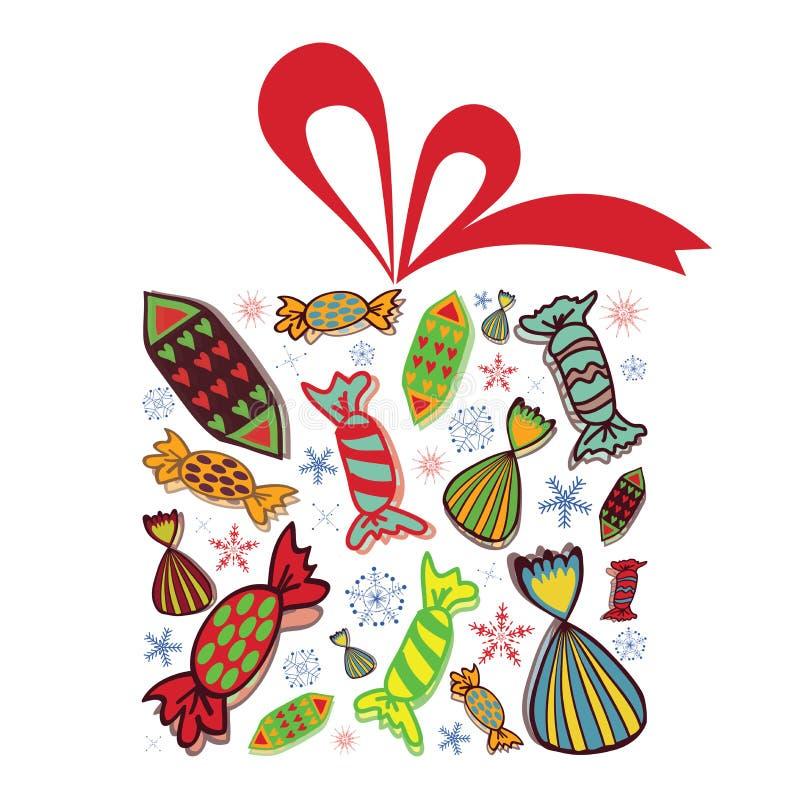 Cadeau de Noël complètement des sucreries illustration stock