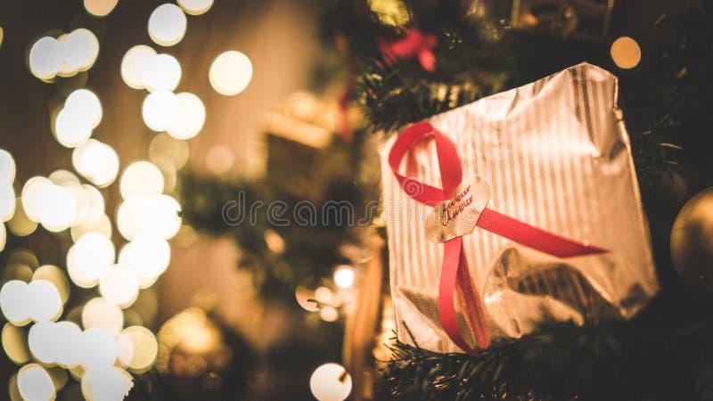 Cadeau de Noël d'intrigue amoureuse images stock