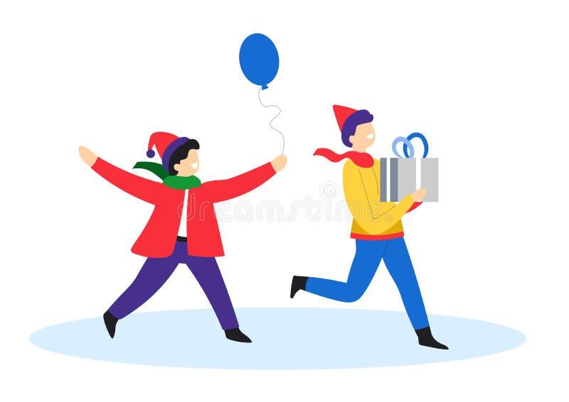 cadeau de Noël, enfants avec boîte cadeau et ballon, Nouvel An illustration de vecteur