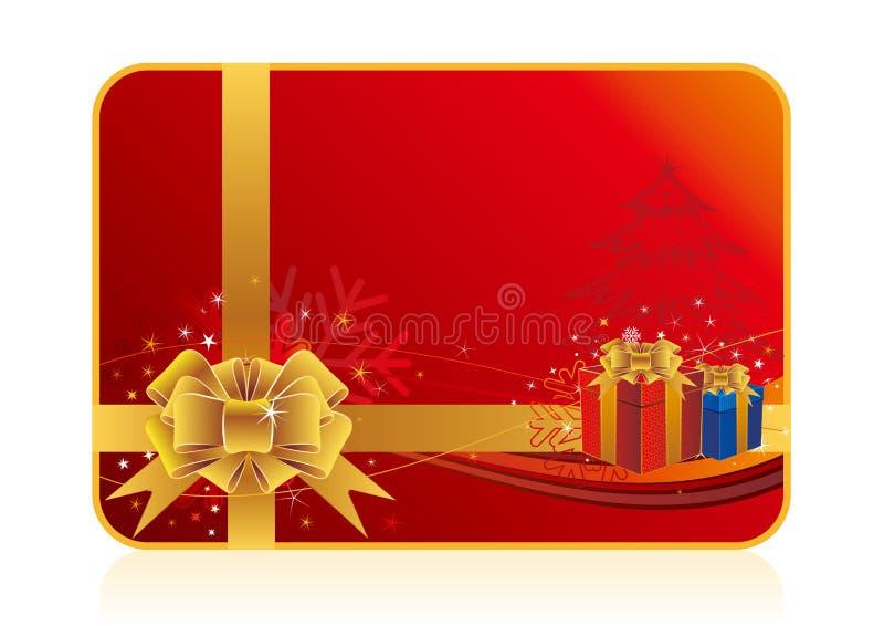cadeau de Noël et fond rouge illustration stock