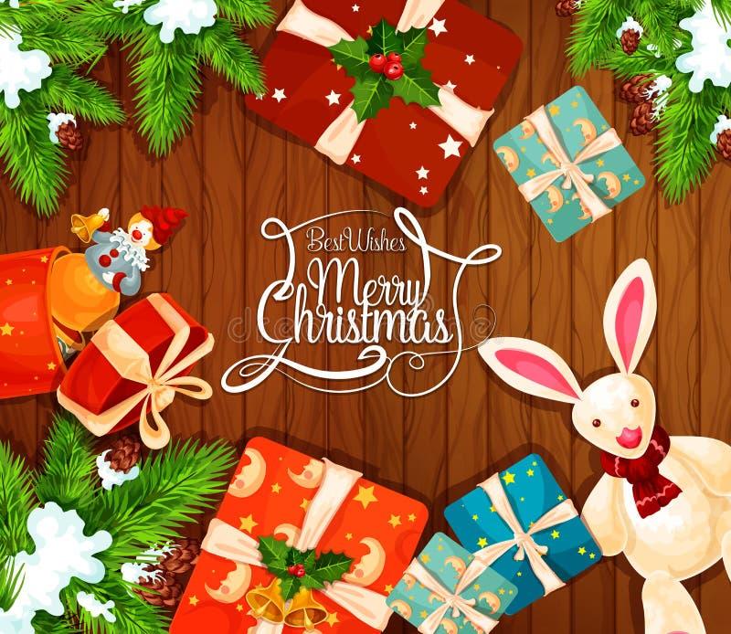 Cadeau de Noël sur la carte de voeux en bois de fond illustration de vecteur