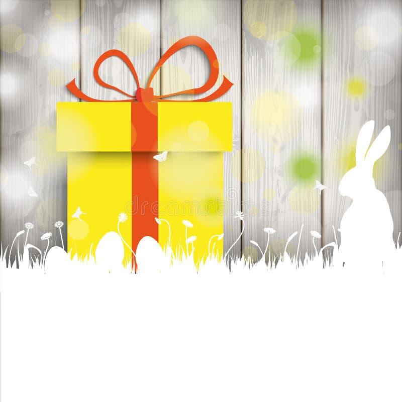 Cadeau en bois de mur de lapin de carte de Pâques illustration de vecteur