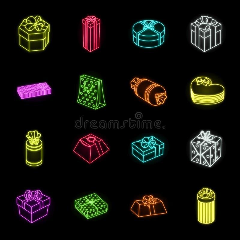 Cadeau et icônes au néon de emballage dans la collection réglée pour la conception Illustration colorée de Web d'actions de symbo illustration libre de droits