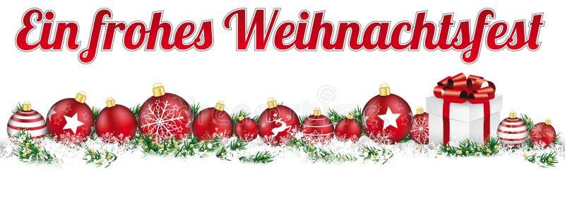 Cadeau Frohes Weihanchtsfes de bannière de neige de titre de babioles de Noël illustration de vecteur