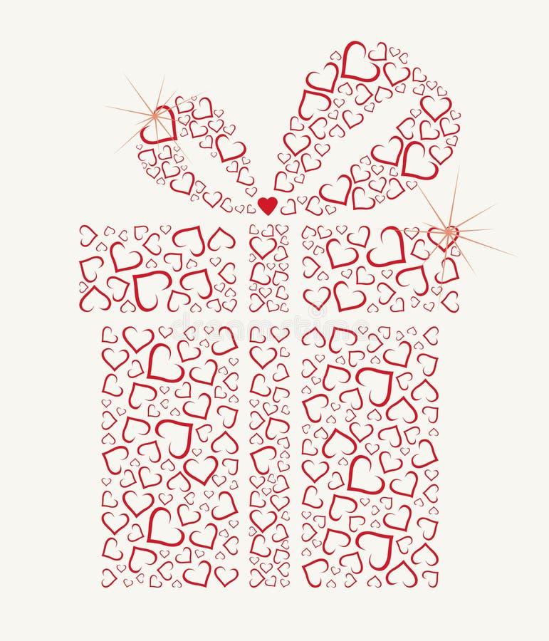 Cadeau heureux de jour de Valentines avec des coeurs illustration de vecteur