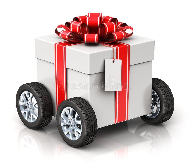 Cadeau ou boîte actuelle avec des roues de voiture illustration stock