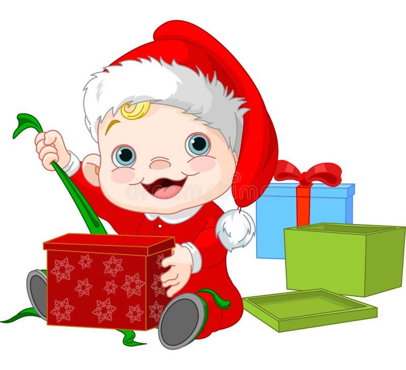 Cadeau ouvert de bébé de Noël illustration de vecteur