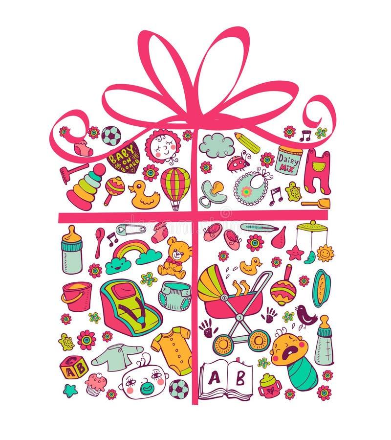 Cadeau pour le babygirl illustration de vecteur