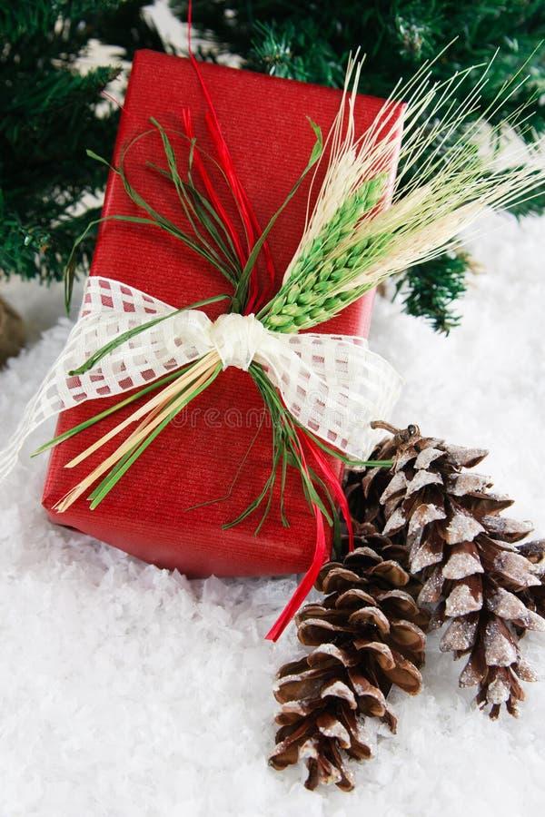 Cadeau rouge enveloppé avec du blé images libres de droits