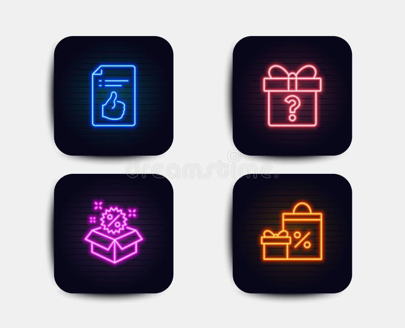 Cadeau secret, vente et icônes de document approuvées Signe d'achats Paquet inconnu, remise, comme le symbole Vecteur illustration stock