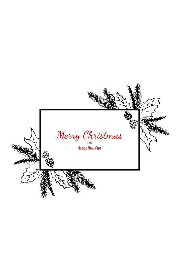 Cadeau simple de cadre de carte de griffonnage de Joyeux Noël illustration de vecteur