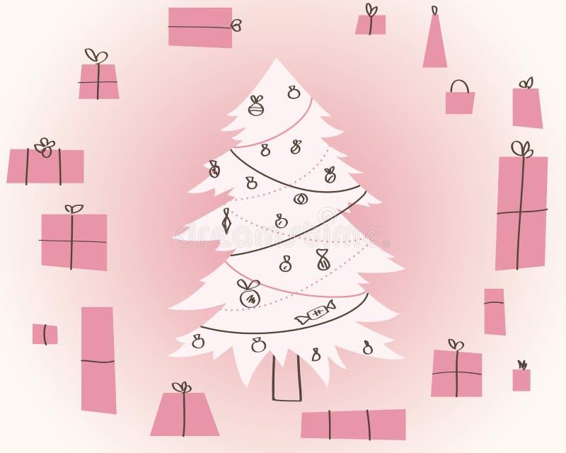Cadeau simple de Noël de vecteur. Carte d'an neuf illustration libre de droits