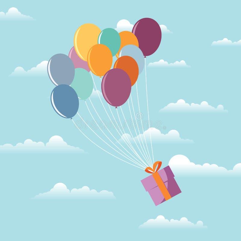 Cadeau sur des ballons illustration de vecteur