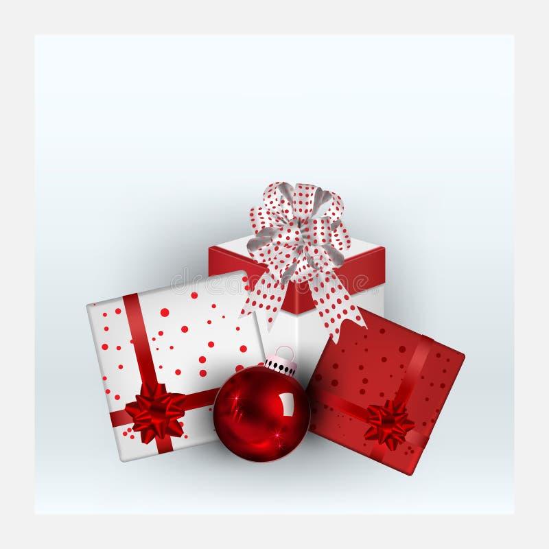 Cadeausbox-elementen voor promotiebanners, met wenskaarten voor profilering, kerstkaarten, kerstfeest, wintervakantie en kerstvak royalty-vrije stock afbeeldingen