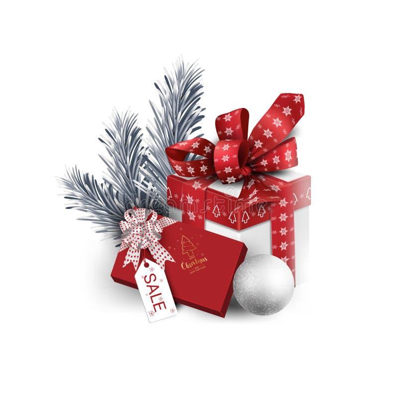 Cadeausbox-elementen voor promotiebanners, met wenskaarten voor profilering, kerstkaarten, kerstfeest, wintervakantie en kerstvak stock foto