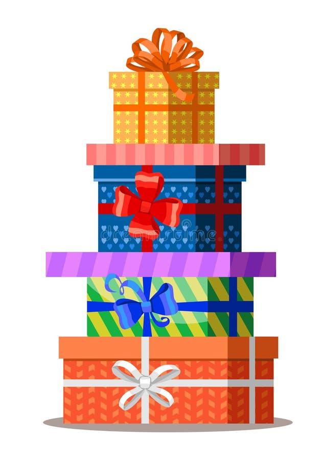 Cadeaux avec des arcs et des rubans Pile de boîte-cadeau de présent de couleur illustration stock