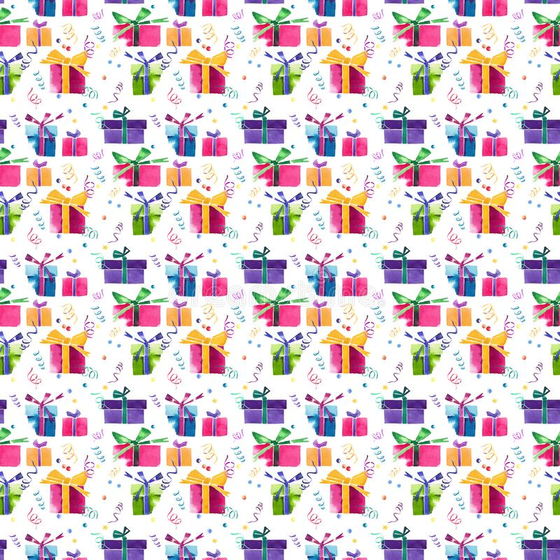 Cadeaux colorés de bel bel de vacances hiver lumineux merveilleux graphique de nouvelle année avec des arcs, serpentine, modèle d illustration de vecteur
