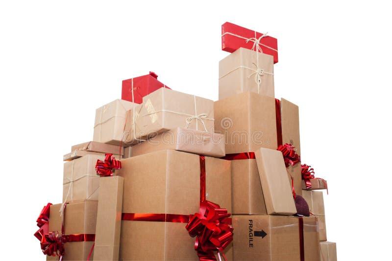 Cadeaux d'anniversaire de Noël d'isolement sur le fond blanc photo stock