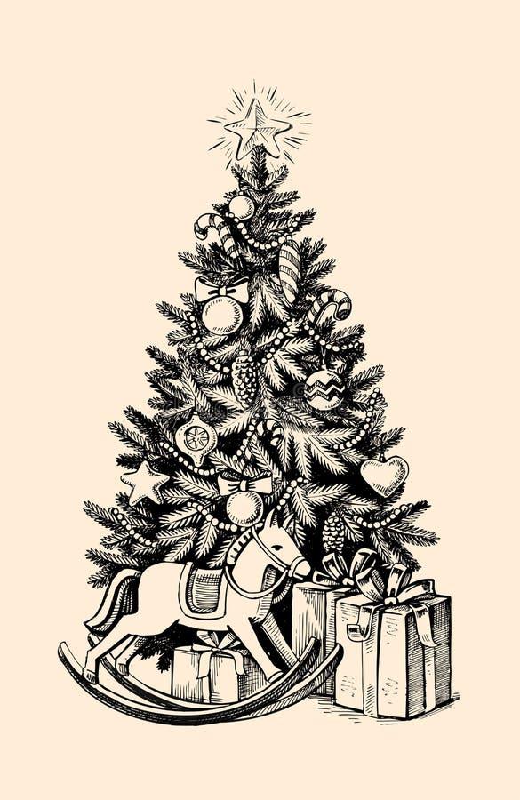 Cadeaux d'arbre de Noël illustration stock
